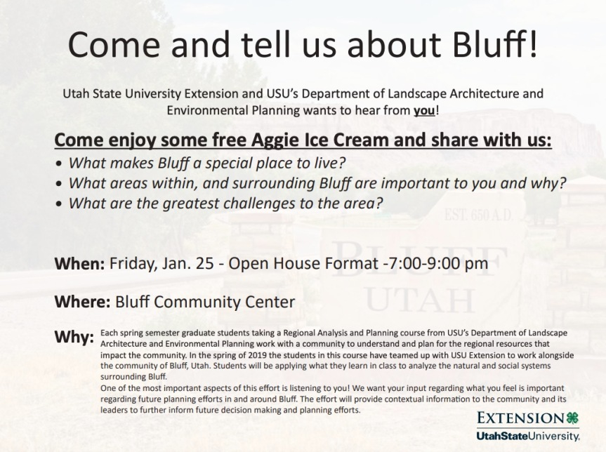 Notice: USU's Department of Landscape Architecture and Environmental Planning Meeting Bluff Residents on Friday