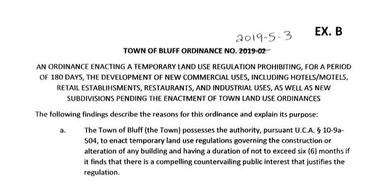 Bluff Town Council Revises Building Moratorium to Allow for Continued Construction of Single-FamilyHomes