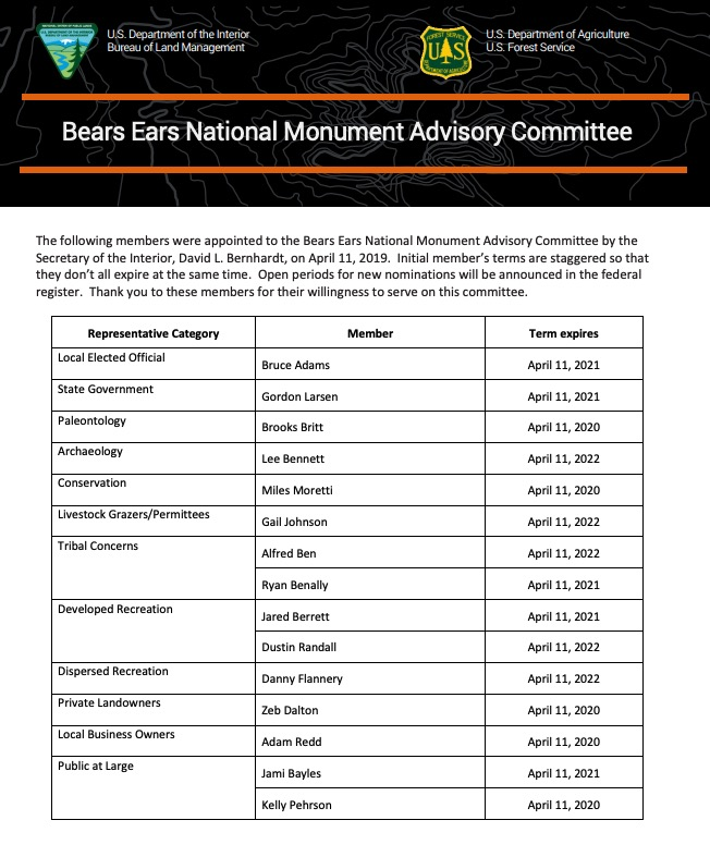 Commentary: Opponents of Bears Ears Designation Appointed to Sit on Monument Advisory Committee