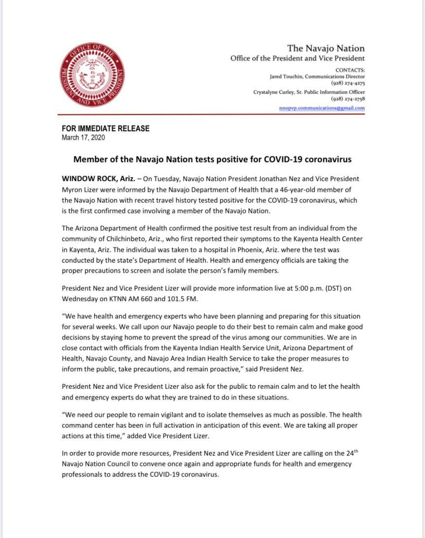 Navajo Nation announces its first confirmed case of COVID-19