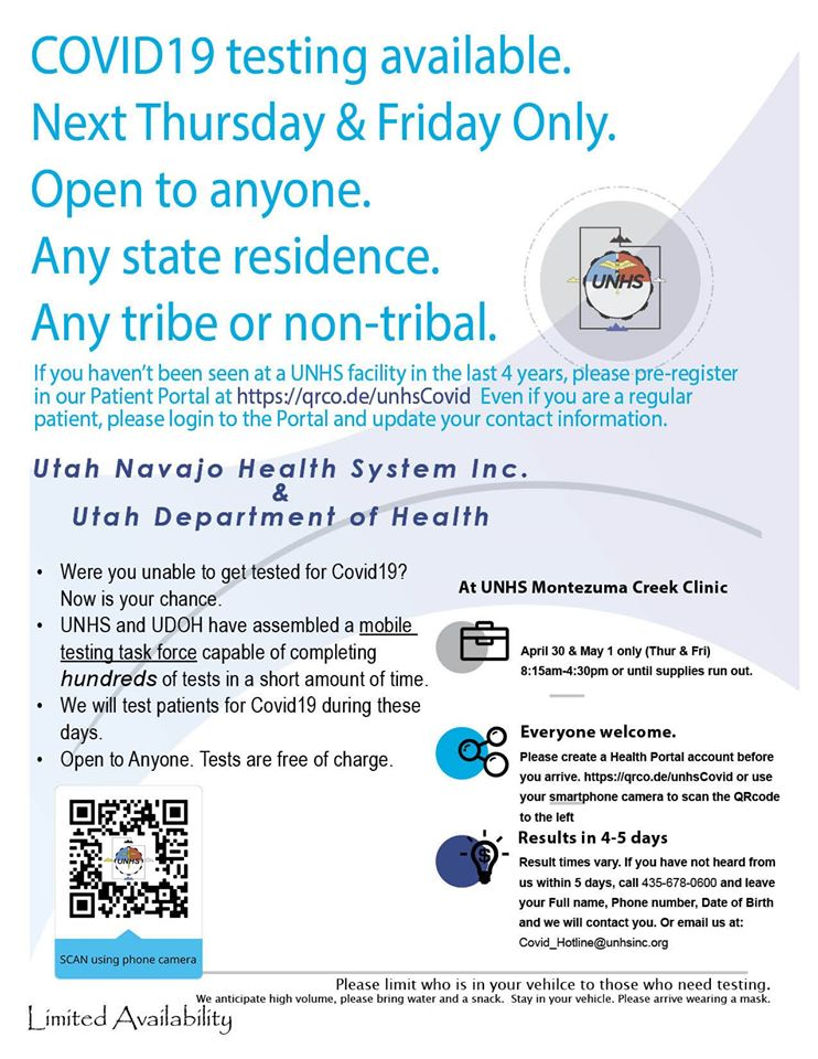 Free coronavirus testing returns to Montezuma Creek April 30 – May 1